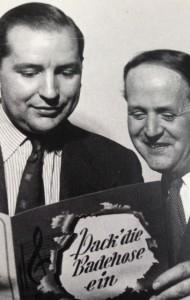 """Die Schöpfer von """"Pack die Badehose ein"""": Textdichter Hans Bradtke und Komponist Gerhard Froboess (rechts)"""