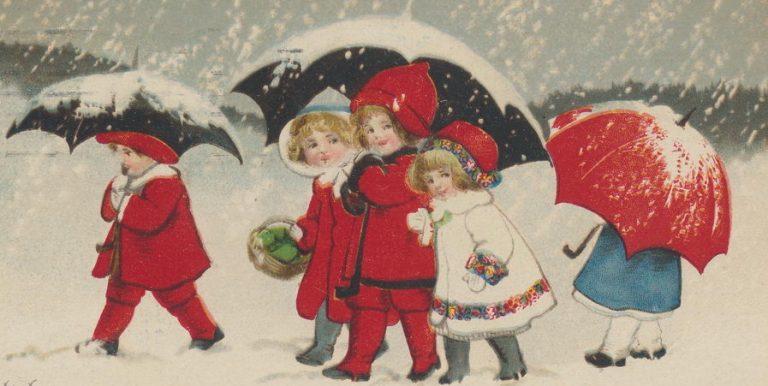 Weihnachtskarte: Kinder, Schnee, Regenschirm